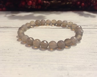 6mm Faceted Gray Agate Bracelet, Small Bead Stacking Bracelet, Wrist Mala For Strength, Courage, Protection, Harmony, Balancing Energy