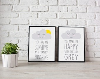 You are my sunshine print - nursery prints - cloud print - nursery wall art - boys room prints - girls room prints - children's room prints