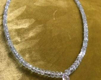 Aquamarine Choker Necklace, Moonstone Necklace, Short Beaded Necklace, Blue Gemstone Necklace, March Birthstone Necklace