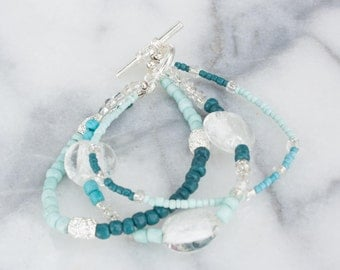 Beaded Triple Strand Bracelet, Blue and Turquoise Beads, Silver Accents, Ocean Colours