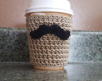 Crochet Pattern, Coffee Cozy Crochet Pattern, Mustache Coffee Cozy Crochet Pattern