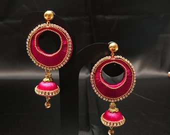 Indian Jewelry - Silk Thread Jewelry - Silk Jewelry - Hot Pink Silk Thread Jewelry - Silk Earrings - Indian Bridal - Indian Wedding -