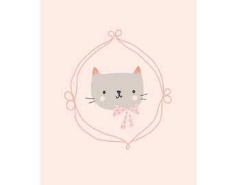 Art Print / Postcard Cat Pink - Baby Decor