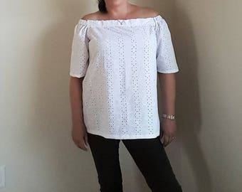 White off the shoulder top in broderie anglais. Medium size 14UK Size 12 US.