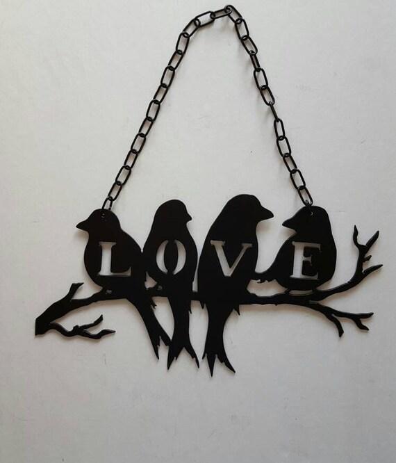 black metal birds love birds bird decor bird wall decor - Bird Wall Decor