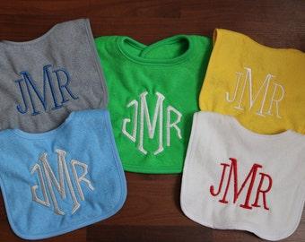Monogrammed Baby Bibs, embroidered bibs, girl bibs, boy bibs, initial bibs