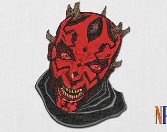 Darth Maul machine embroidery design. Star Wars embroidery design. Embroidery file