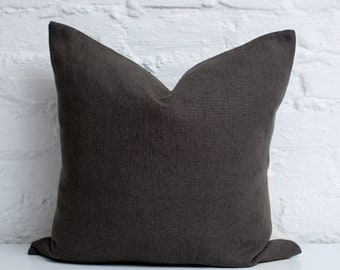 Dark grey luxury linen pillow / stonewashed linen pillow / grey decorative linen pillow / grey linen cushion / linen pillows /linen cushions