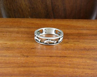 SALE - 925 Sterling Silver Dolphin Ring - Size 8