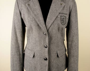 gray blazer, breasted blazer, long sleeve women blazer, 4WARDS blazer, casual blazer, elegant blazer, club jacket, size L blazer