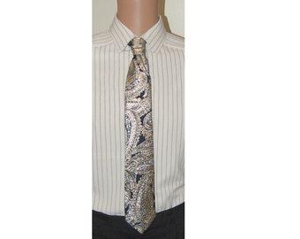 Hand Made Metallic  Gold Black Silver Paisley Neck Tie