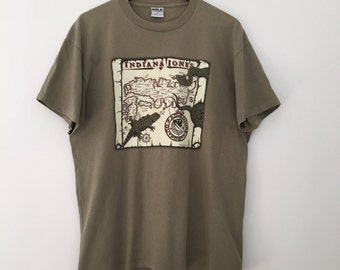 Indiana Jones shirt / vintage tshirts / khaki tshirt / mens tshirt / superhero tshirt / Disney tshirts / cotton tshirt / made in USA /