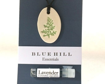 Essential Oil Necklace/Comes with 100% Pure Lavender Oil/Ceramic/Botanical Necklace/Free Gift Wrap