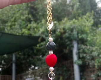 Car rearview mirror decor beaded Harley Quinn with adjustable gold colored chain and lobster clasp