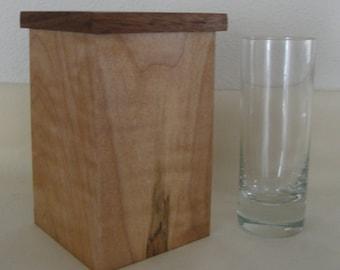 Wooden Western Maple & Walnut Vase with Glass Insert