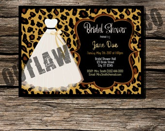 Leopard Bridal Shower Invitation Instant Download Printable Customizable Retro Vintage Pin Up Invite 4x6