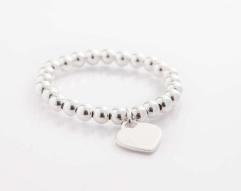 Large Bead Bracelet with Heart Charm - 8mm