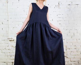 Linen Dress,blue linen dress, summer linen dress,loose fit dress, one size linen tunic,every day dress, plus size dress, linen kimono/LD0021