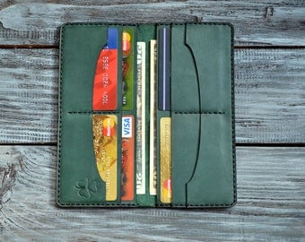 Long Wallet, Green Wallet, Leather Wallet, Men's Wallet, Women's Wallet, Leather Clutch, Handmade Wallet