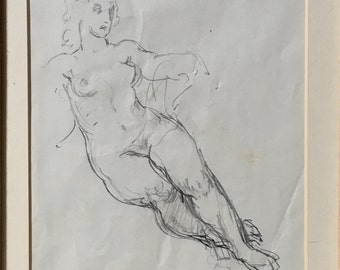 Norman Lindsay Reclining Figure Original drawing pencil on paper framed