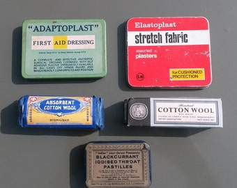 Collection of Vintage First Aid Kit Tins and Dressings