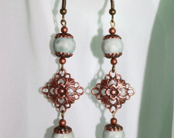 Vintage-Inspired Green and Copper Earrings/Classy Beaded Earrings/Gift for Mom/Gifts for Daughter/Gifts for Her/Sister Gifts/Girlfriend/Wife