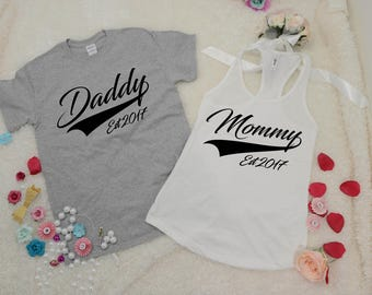 Mom and Dad Shirts, New Parent Gifts, Matching Couple Shirts, Baseball Shirts, Family Tshirts, New Mommy, New Daddy