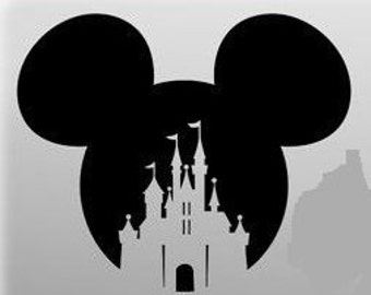 Mickey Head with Castle Cut out, Disney Castle Vinyl Decal, Disney Car Decal, Disney Decal, Castle Decal