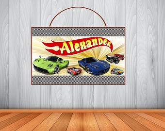Personalized HOT WHEELS Sign, Personalized Hot Wheels Sign, Hot Wheels Personalized Wooden Name Sign, Room Decor, Birthday Gift, Wall Art