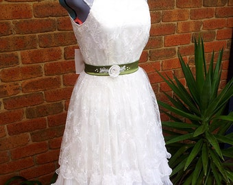 50's Inspired Handmade Wedding Dress Sz 8-10