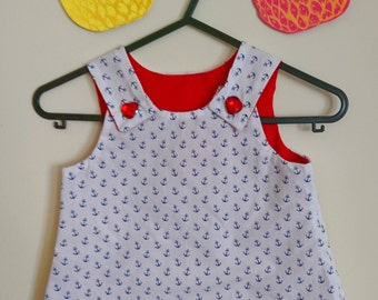 Little Sailor anchor print baby dress age 1-2