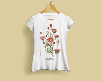 Xeranthemum Annuum Ladies T-Shirt - Botanical Illustration, Botanical Art, Botany Art, Flower Tshirt, Annual Immortelle, S M L XL XXL