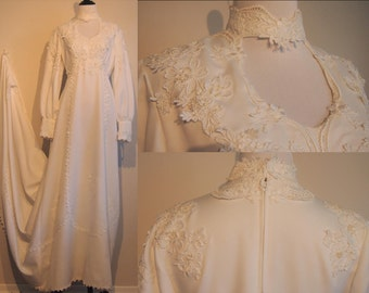 Vintage Wedding Dress; Vintage White Dress; 70's Wedding Dress