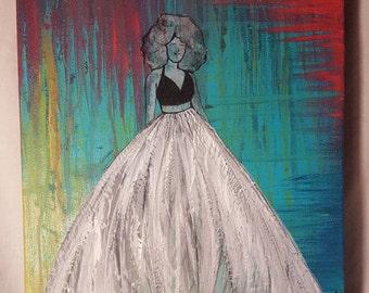 Original Painting - 'Big Hair, Big Dress'