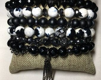 Black & White Affair 6 bracelet stack made with natural stones, swarovski crystals and chains