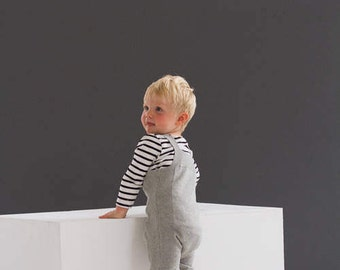 Soft Grey Knitted Dungaress