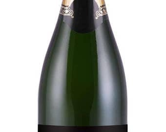 Prom 2017 'Champagne' Label - black with faux silver writing - great for non-alcoholic champagne!