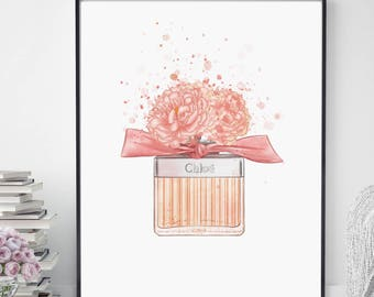 Chloe Perfume art print wall art printed watercolor, watercolour, flowers, bedroom, bathroom decor, gift for her gift for mom, fashion