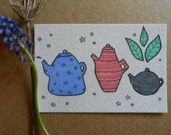 hand drawn teapot illustration - original postcard art - a6 - blue, pink, grey