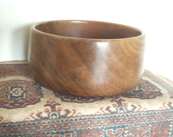 Gorgeous large solid wood wooden carved fruit bowl plant pot vintage boho eco nature serving bowl hippy earth nature