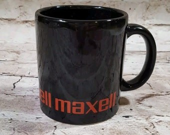 Vintage Retro Maxell Cassette VHS Tape Logo Black Coffee Mug