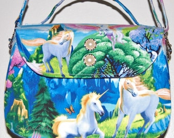 Unicorn and Pegasus Shoulder Bag -  Unicorn Purse, Fantasy Creatures, Retro Purse, Teen Gift Idea, Boxy Bag, Adjustable Strap, Alicorn Bag