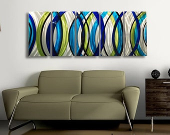 Oversized Contemporary Metal Wall Sculpture, Blue, SIlver & Green Modern Metal Wall Art, Home and Office Decor - Sonic Boom XL by Jon Allen
