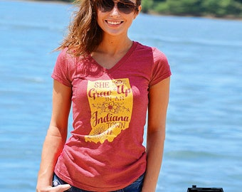 "She Grew Up In An Indiana Town. Womens V-Neck Heather Red Tee. Tom Petty ""Last Dance with Mary Jane"" inspired Indiana Pride Tee. Hoosiers"