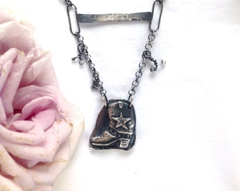 Cowgirl Star Boot Necklace in Sterling Silver