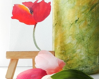 Poppy Watercolor, ACEO Original Painting, Artist Trading Card, Collectible Art, Hand-Painted, Poppy Miniature, Etsy Art, Optional Mini Easel