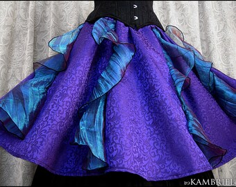 One of a Kind Purple Decadence Skirt by Kambriel - Purple Brocade and Iridescent Teal Crushed Organza - Brand New & Ready to Ship!