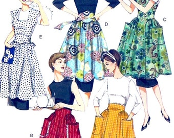 1952 Design Aprons reissue sewing pattern Vogue 8643 Chef Bakers Housewife mother Size sm to LG mid century UNCUT