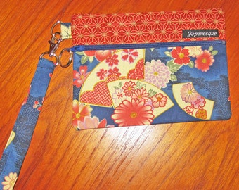 Wrist Strap Zippered Pouch Peonies and Fans Design Japanese Asian Fabric Blue