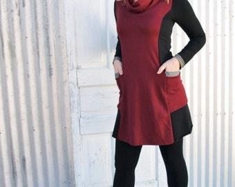 Organic Pocket Dress with Cozy Cowl and Stripe Trim